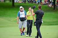 Zach Johnson (USA) shakes hands with Thomas Pieters (BEL) on 18 following Sunday's final round of the World Golf Championships - Bridgestone Invitational, at the Firestone Country Club, Akron, Ohio. 8/6/2017.<br /> Picture: Golffile | Ken Murray<br /> <br /> <br /> All photo usage must carry mandatory copyright credit (&copy; Golffile | Ken Murray)
