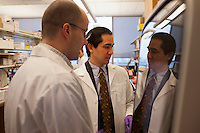 Dr. Dan Barouch (right) speaks with co-author Dr. James Whitney, Instructor of Medicine, in the Barouch Lab in Boston, Massachusetts, USA. Dr. Dan Barouch is Professor of Medicine and physician at Beth Israel Deaconess Medical Center and Harvard Medical School in Boston, Massachusetts, USA. He is director of the Barouch Lab at the Center for Virology and Vaccine Research at Beth Israel Deaconess Medical Center and has recently published research on the evaluation of novel antibody therapy for HIV infection.<br /> <br /> CREDIT: M. Scott Brauer for the Wall Street Journal<br /> AIDS