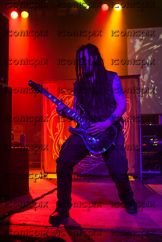 PARADISE LOST - guitarist Gregor Mackintosh - performing live on the 25th Anniversary Tour at the Wulfrun Hall in Wolverhampton UK - 30 Oct 2013.  Photo credit: Tony Woolliscroft/IconicPix