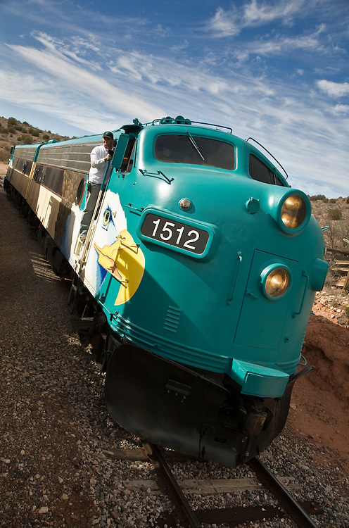 The Verde Canyon Railroad Wilderness Train engine in Clarkdale, Arizona