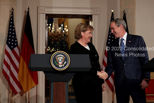 4 January 2007- Washington D.C.- U.S. President George W. Bush and German Chancellor Angela Merkel hold a joint press conference at the White House. Merkel and Bush told the media about what they discussed, mainly economic issues, Iraq, and the future G8 summit. Photo Credit: Evan F. Sisley/Sipa Press