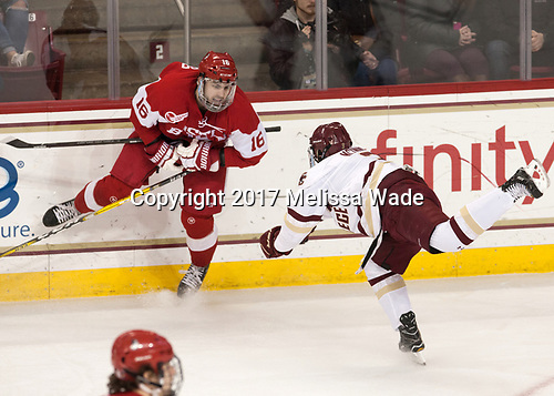 John MacLeod (BU - 16), Luke McInnis (BC - 3) - The visiting Boston University Terriers defeated the Boston College Eagles 3-0 on Monday, January 16, 2017, at Kelley Rink in Conte Forum in Chestnut Hill, Massachusetts.