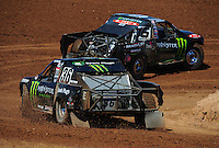 Apr 16, 2011; Surprise, AZ USA; LOORRS driver Rick Huseman (36) follows Johnny Greaves (16) during round 3 at Speedworld Off Road Park. Mandatory Credit: Mark J. Rebilas-.