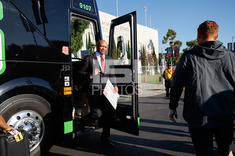 LOS ANGELES, CA - SEPTEMBER 7: Stanford Cardinal head coach David Shaw arrives at LA Memorial Coliseum during a game between USC and Stanford Football at Los Angeles Memorial Coliseum on September 7, 2019 in Los Angeles, California.