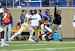 BROOKINGS, SD - SEPTEMBER 24:  Isaac Wallace #35 from South Dakota State University turns the corner past Mike Viti #26 from Western Illinois in the first half of their game Saturday evening at Dana J. Dykhouse Stadium in Brookings. (Photo by Dave Eggen/Inertia)
