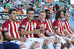 14 June 2014: Chivas USA's substitutes' bench before the game. From left: Martin Rivero (ARG), Erick Torres (MEX), Matthew Dunn, Michael Nwilo, Matthew Fondy, and Kristopher Tyrpak. The Carolina RailHawks of the North American Soccer League played Chivas USA of Major League Soccer at WakeMed Stadium in Cary, North Carolina in the fourth round of the 2014 Lamar Hunt U.S. Open Cup soccer tournament. The RailHawks advanced by winning a penalty kick shootout 3-2 after the game had ended in a 1-1 tie after overtime.