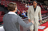 STANFORD, CA - December 22, 2015: Stanford defeats CSU Bakersfield 83-41 at Maples Pavilion. Tara VanDerveer greets CSU Bakersfield coach Greg McCall.
