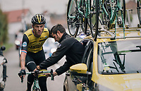 mobile pit-stop for Lars Boom (NED/LottoNL-Jumbo) <br /> <br /> 2018 Binche - Chimay - Binche / Memorial Frank Vandenbroucke (1.1 Europe Tour)<br /> 1 Day Race: Binche to Binche (197km)