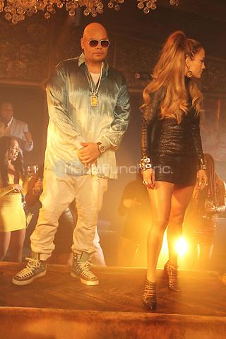 "NEW YORK, NY - SEPTEMBER 8: Fat Joe & Jennifer Lopez on the set of the video shoot for ""Stressin"" September 8, 2014 in New York City. Credit: Walik Goshorn/MediaPunch"