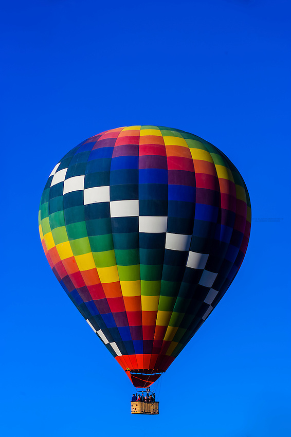 Aerial view of hot air balloons flying at the Albuquerque International Balloon Fiesta, Albuquerque, New Mexico USA.