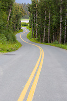 Double yellow line in winding roadway, Haines, Alaska