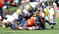 Virginia offensive tackle Eric Smith (72) Georgia Tech football competes against Virginia in Charlottesville, VA. Photo/Andrew Shurtleff