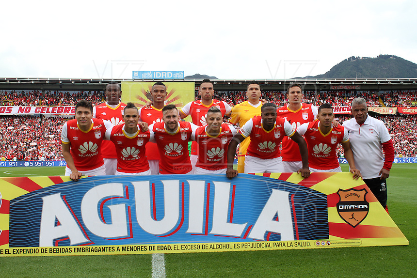 BOGOTA, COLOMBIA - January- 29-2017: Team of Indepemdiente Santa Fe.Action game between Independiente Santa Fe   and Independiente Medellin during a match as part of National Super League Aguila 2017 match played  at Nemesio  Camacho El Campin Stadium on January 29, 2016 in Bogota, Colombia.   Photo by Felipe Caicedo/ VizzorImage / Staff