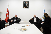Pictured: Alexis Tsipras (2nd R) Tuesday 08 March 2016<br /> Re: The Prime Ministers of Turkey Ahmet Davutoglu and Greece Alexis Tsipras have met in Smyrna, Turkey to discuss ways to enhance their cooperation as both countries are grappling with an influx of migrants,