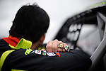 Ander Vilarino car racing driver poses with his two NASCAR championship rings during the presentation of his car for the European official NASCAR Championship 2014 in the circuit of Olaberria on March 26, 2014, Basque Country. On March 27, Ander Vilarino will begin with trainings in Nogaro Circuit, France. (Ander Gillenea / Bostok Photo)
