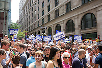 Crowds watch the 2011 NYC Pride March on 26 June 2011 in New York, New York, two days after the New York State Senate voted 33-29 to legalize gay marriage.