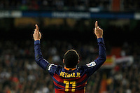 Barcelona´s Neymar Jr celebrates a goal during 2015-16 La Liga match between Real Madrid and Barcelona at Santiago Bernabeu stadium in Madrid, Spain. November 21, 2015. (ALTERPHOTOS/Victor Blanco) /NortePhoto