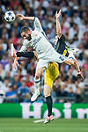 Daniel Carvajal Ramos (l) of Real Madrid battles for the ball with Saul Niguez Esclapez of Atletico de Madrid during their 2016-17 UEFA Champions League Semifinals 1st leg match between Real Madrid and Atletico de Madrid at the Estadio Santiago Bernabeu on 02 May 2017 in Madrid, Spain. Photo by Diego Gonzalez Souto / Power Sport Images