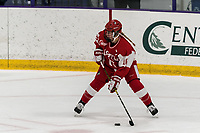 WORCESTER, MA - FEBRUARY 08: Sammy Davis #16 of Boston University looks to pass during a game between Boston University and College of the Holy Cross at Hart Center Rink on February 08, 2020 in Worcester, Massachusetts.