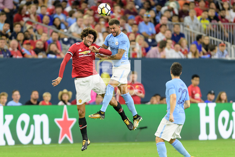 Houston, TX - Thursday July 20, 2017: Marouane Fellaini and Kyle Walker during a match between Manchester United and Manchester City in the 2017 International Champions Cup at NRG Stadium.