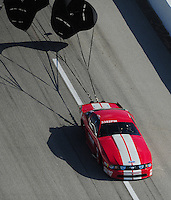 Apr. 28, 2012; Baytown, TX, USA: Aerial view of NHRA pro mod driver Donald Walsh during qualifying for the Spring Nationals at Royal Purple Raceway. Mandatory Credit: Mark J. Rebilas-