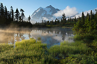 Mount Baker-Snopqualmie National Forest, Washington:<br /> Mount Shuksan reflecting on Picture Lake at dawn