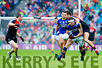 David Moran Kerry in action against Tom Parsons Mayo in the All Ireland Semi Final in Croke Park on Sunday.