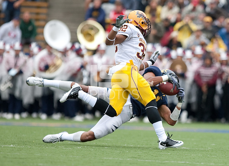 Sean Cattouse (11) makes the interception intended for Jamal Miles (32). Cal Football defeated Arizona State 50-17 at Memorial Stadium in Berkeley, California on October 23rd, 2010.