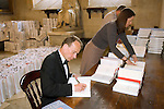 Andrew Marr signing 1000 books at Christ Church during the Sunday Times Oxford Literary Festival, UK, 24 March - 1 April 2012. ..PHOTO COPYRIGHT GRAHAM HARRISON .graham@grahamharrison.com.+44 (0) 7974 357 117.Moral rights asserted.