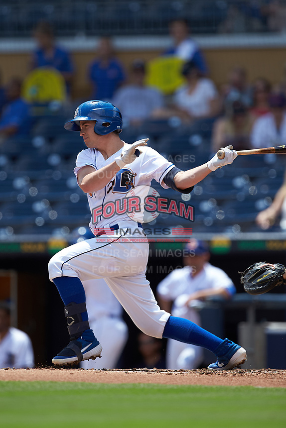 Nick Solak (3) of the Durham Bulls follows through on his swing against the Columbus Clippers at Durham Bulls Athletic Park on June 1, 2019 in Durham, North Carolina. The Bulls defeated the Clippers 11-5 in game one of a doubleheader. (Brian Westerholt/Four Seam Images)
