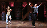 """Eliza Ohman and Zelig Williams from the 'Hamilton' cast during a Q & A before The Rockefeller Foundation and The Gilder Lehrman Institute of American History sponsored High School student #EduHam matinee performance of """"Hamilton"""" at the Richard Rodgers Theatre on June 6, 2018 in New York City."""