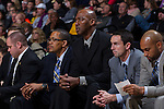 Wake Forest Demon Deacons head coach Danny Manning (center) looks on from the bench during second half action against the Minnesota Golden Gophers at the LJVM Coliseum on December 2, 2014 in Winston-Salem, North Carolina.  The Golden Gophers defeated the Demon Deacons 84-69. (Brian Westerholt/Sports On Film)