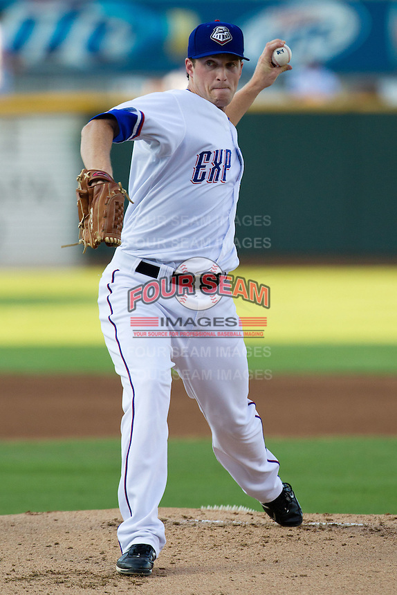 Round Rock Express pitcher Chad Bell #48 delivers during the Pacific Coast League baseball game against the Las Vegas 51s on August 7th, 2012 at the Dell Diamond in Round Rock, Texas. The Express defeated the 51s 5-4. (Andrew Woolley/Four Seam Images).