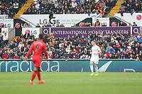 Adverts from LG, International Money Transfers and Barracuda during the Premier League match between Swansea City and Huddersfield Town at The Liberty Stadium, Swansea, Wales, UK. Saturday 16 October 2017