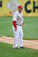 Harrisburg Senators manager Matthew LeCroy (24) coaching third base during the second game of a doubleheader against the New Hampshire Fisher Cats on May 13, 2018 at FNB Field in Harrisburg, Pennsylvania.  Harrisburg defeated New Hampshire 2-1.  (Mike Janes/Four Seam Images)