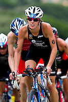 05 JUN 2010 - MADRID, ESP - Helen Jenkins reaches the brow of the hill during the bike at the Madrid round of the womens ITU World Championship Series triathlon (PHOTO (C) NIGEL FARROW)