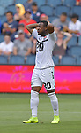 Jomal Williams (20) of Trinidad and Tobago reacts after missing a shot on goal against Guyana during their Gold Cup match on June 26, 2019 at Children's Mercy Park in Kansas City, KS.<br /> Tim VIZER/AFP