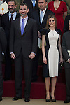 Spanish Royals King Felipe VI of Spain and Queen Letizia of Spain during the National Culture Awards ceremony at El Pardo Palace in Madrid, Spain. February 16, 2015. (ALTERPHOTOS/Victor Blanco)