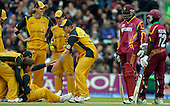 ICC World Cup T20 - West Indies V Australia at the Brit Oval - Australia's Hopes floored by West Indies Gayle, injuring his shoulder - Picture by Donald MacLeod - 06 June 2009
