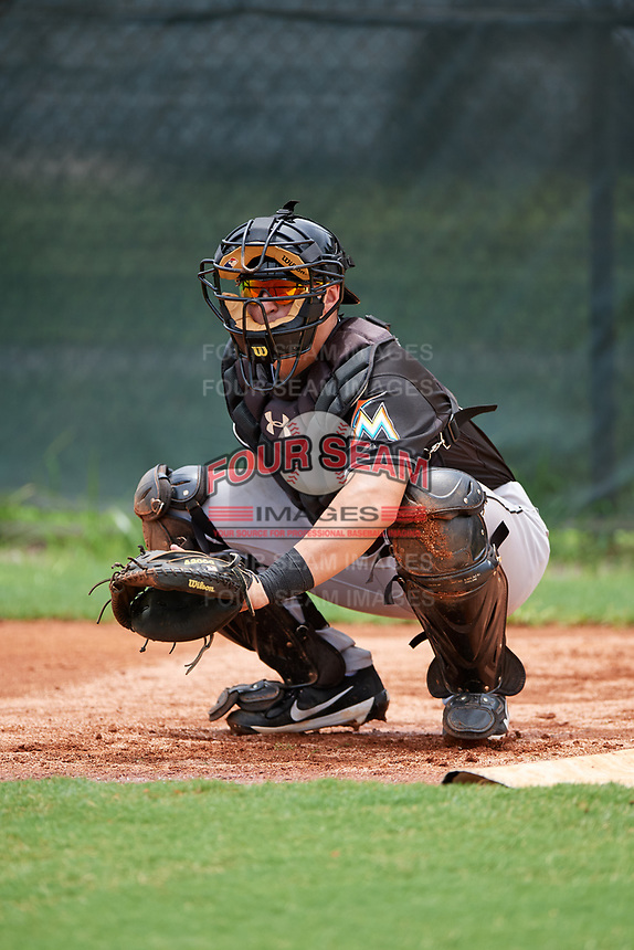 GCL Marlins catcher J.D. Osborne (29) during the second game of a doubleheader against the GCL Nationals on July 23, 2017 at Roger Dean Stadium Complex in Jupiter, Florida.  GCL Nationals defeated the GCL Marlins 1-0.  (Mike Janes/Four Seam Images)