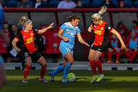 Bridgeview, IL, USA - Saturday, April 23, 2016: Western New York Flash midfielder Michaela Hahn (2), Chicago Red Stars forward Sofia Huerta (11), and Western New York Flash midfielder Abigail Dahlkemper (13) during a regular season National Women's Soccer League match between the Chicago Red Stars and the Western New York Flash at Toyota Park. Chicago won 1-0.