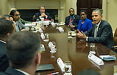 United States President Barack Obama meets with small business leaders in the Roosevelt Room at the White House on October 11, 2013.  <br /> Credit: Kevin Dietsch / Pool via CNP