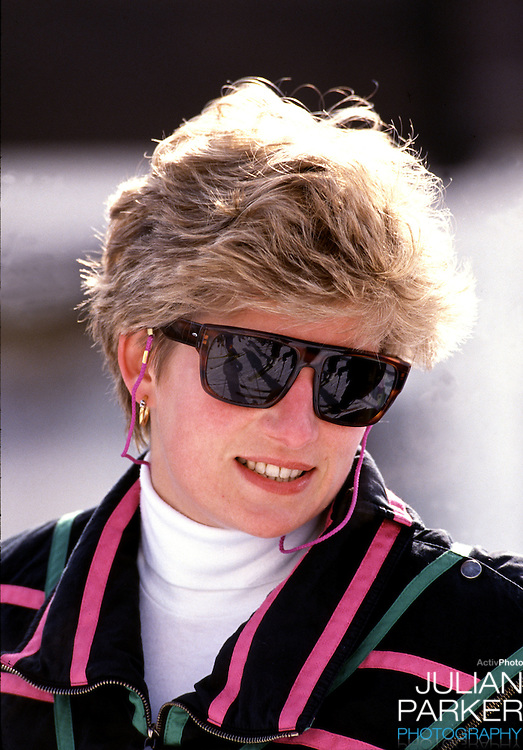 Diana,The Princess of Wales in Lech Austria, during an annual ski holiday with her sons, Prince William, and Prince Harry.