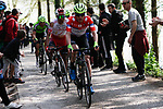 Polka Dot Jersey Garikoitz Bravo (ESP) Euskadi-Murias and Darwin Atapuma (COL) Cofidis with a torn jersey on the Ixua a brutal 20% off road climb during Stage 5 of the Tour of the Basque Country 2019 running 149.8km from Arrigorriaga to Arrate, Spain. 12th April 2019.<br /> Picture: Colin Flockton | Cyclefile<br /> <br /> <br /> All photos usage must carry mandatory copyright credit (&copy; Cyclefile | Colin Flockton)