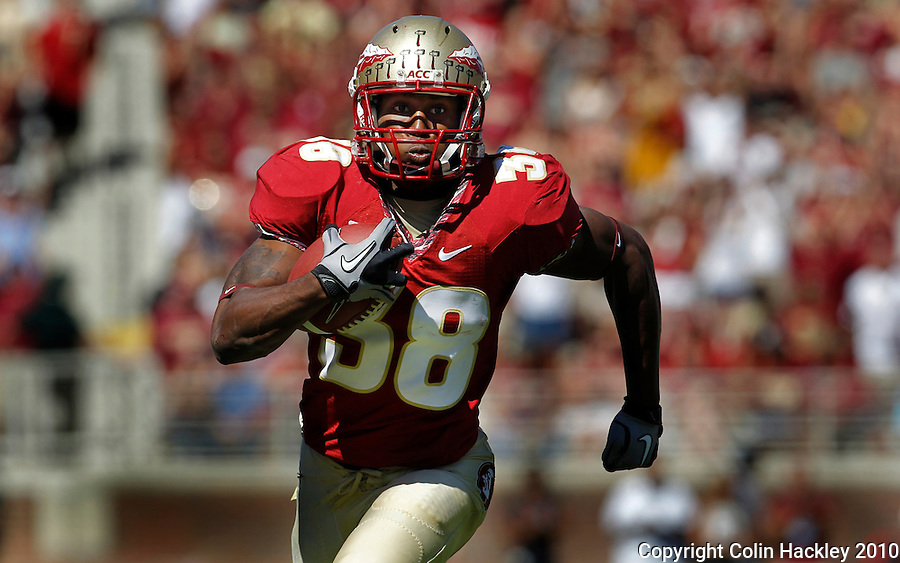 TALLAHASSEE, FL 10-FSU-BC 101610 FB10 CH-Florida State's Jermaine Thomas runs for 23 yards to set up the Seminole's first touchdown against Boston College's during first half action Saturday at Doak Campbell Stadium in Tallahassee. .COLIN HACKLEY PHOTO