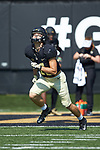 Davis Johnson (11) of the Wake Forest Demon Deacons warms-up prior to the game against the Notre Dame Fighting Irish at BB&T Field on September 22, 2018 in Winston-Salem, North Carolina. The Fighting Irish defeated the Demon Deacons 56-27. (Brian Westerholt/Sports On Film)