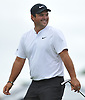 Patrick Reed laughs after teeing off from the 17th Hole during a practice round prior to the U.S. Open Championship at Shinnecock Hills Golf Club in Southampton on Wednesday, June 13, 2018.
