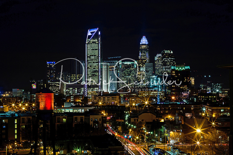 Charlotte Skyline Photography - Charlotte NorthCarolina skyline shot from the Southend of Charlotte.<br /> <br /> Nighttime Charlotte NorthCarolina Skyline.<br /> <br /> Charlotte Photographer - PatrickSchneiderPhoto.com