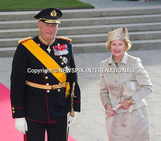 "KING HARALD AND QUEEN SONJA OF NORWAY.Wedding of HRH the Hereditary Grand Duke and Countess Stéphanie de Lannoy.Religious Ceremony at Cathedral of Our lady of Luxembourg, Luxembourg_20-10-2012.Mandatory credit photo: ©Dias/NEWSPIX INTERNATIONAL..(Failure to credit will incur a surcharge of 100% of reproduction fees)..                **ALL FEES PAYABLE TO: ""NEWSPIX INTERNATIONAL""**..IMMEDIATE CONFIRMATION OF USAGE REQUIRED:.Newspix International, 31 Chinnery Hill, Bishop's Stortford, ENGLAND CM23 3PS.Tel:+441279 324672  ; Fax: +441279656877.Mobile:  07775681153.e-mail: info@newspixinternational.co.uk"