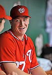 24 September 2011: Washington Nationals pitcher Jordan Zimmermann chats in the dugout during a game against the Atlanta Braves at Nationals Park in Washington, DC. The Nationals defeated the Braves 4-1 to even up their 3-game series. Mandatory Credit: Ed Wolfstein Photo